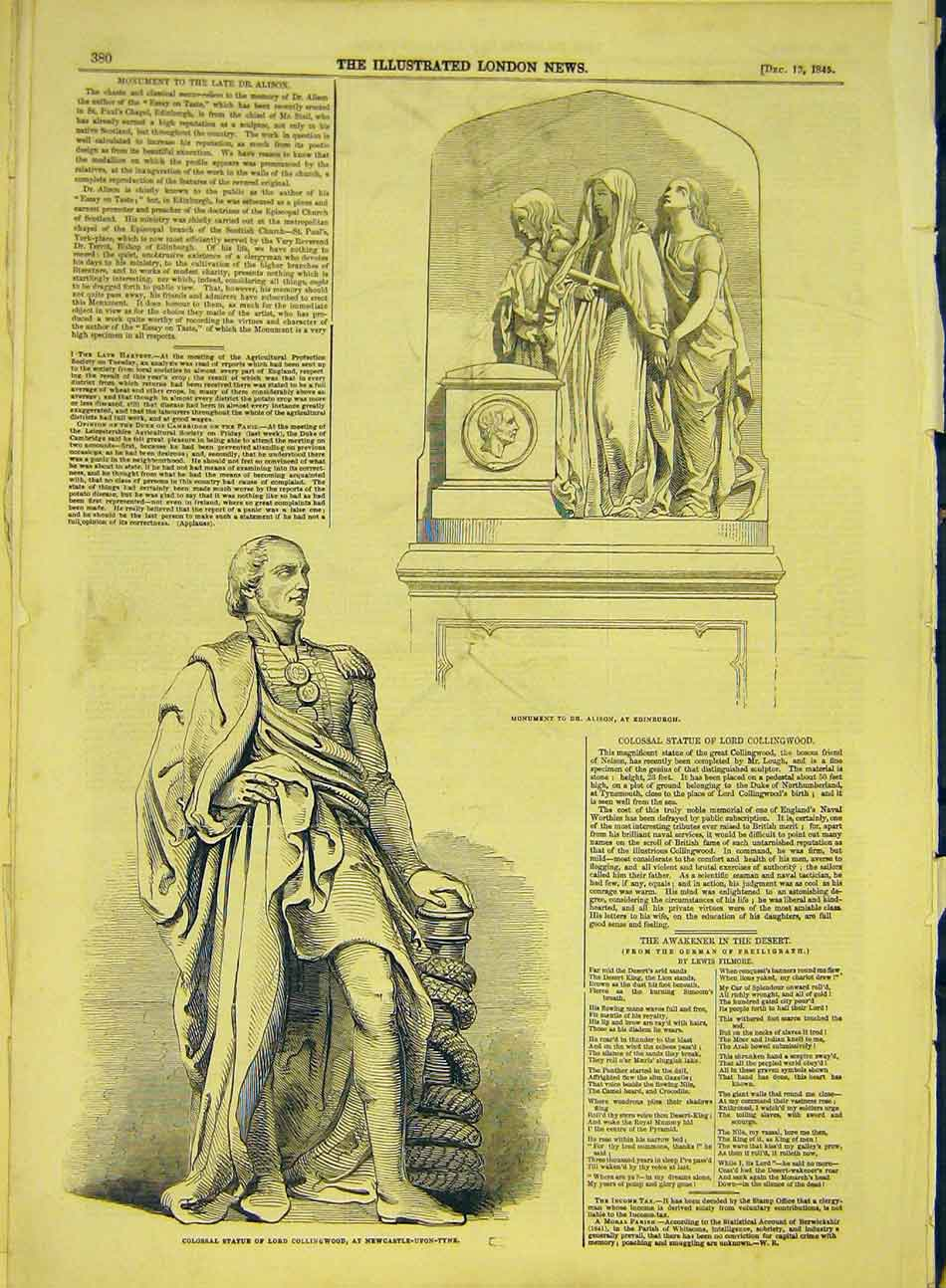 Print 1845 Statue Collingwood Alison Edinburgh Newcastle 567991 Old Original