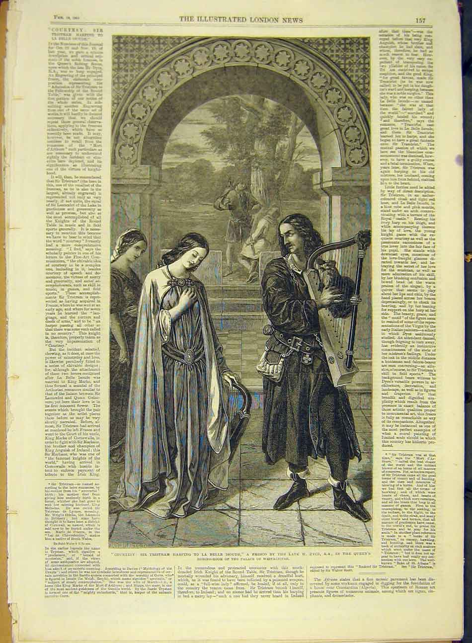 Print 1865 Courtesy Harping Isoude Dyce Fresco 677991 Old Original