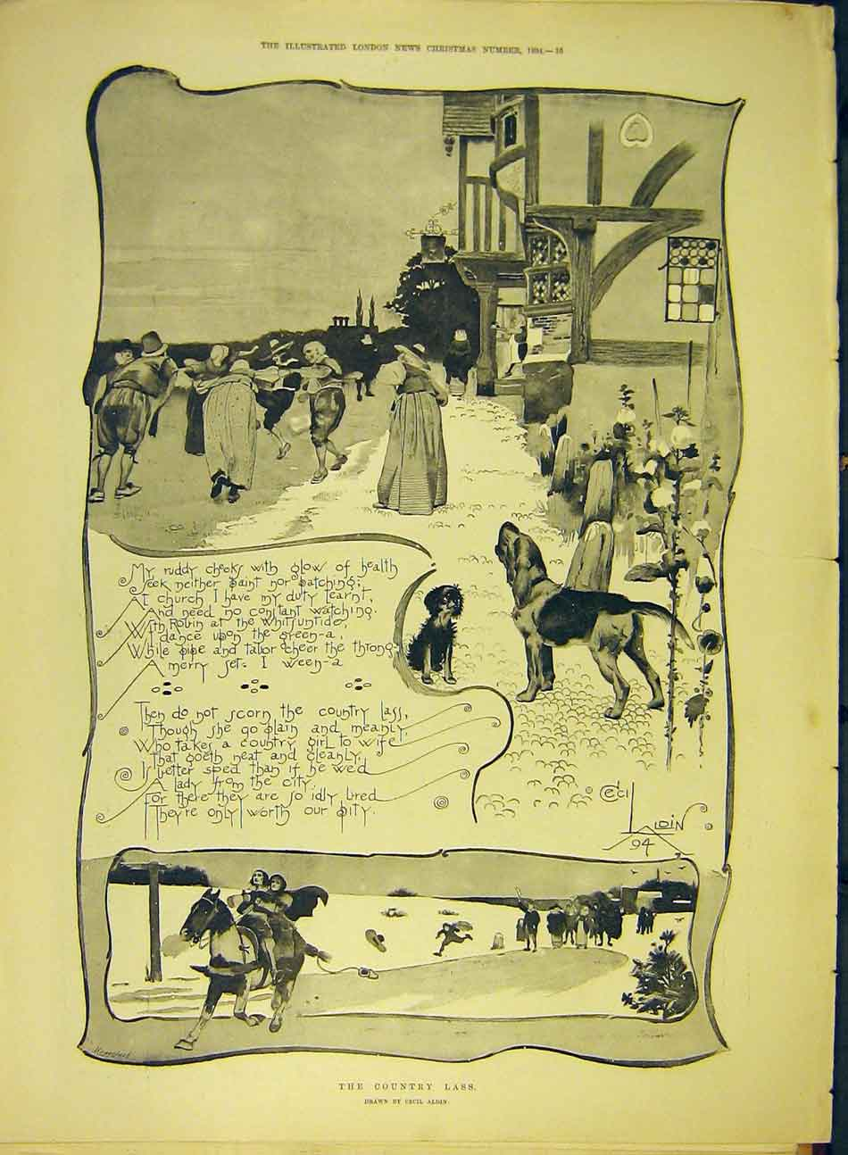 Print 1894 Country-Lass Aldin Sketch Village Dance Dog 687991 Old Original