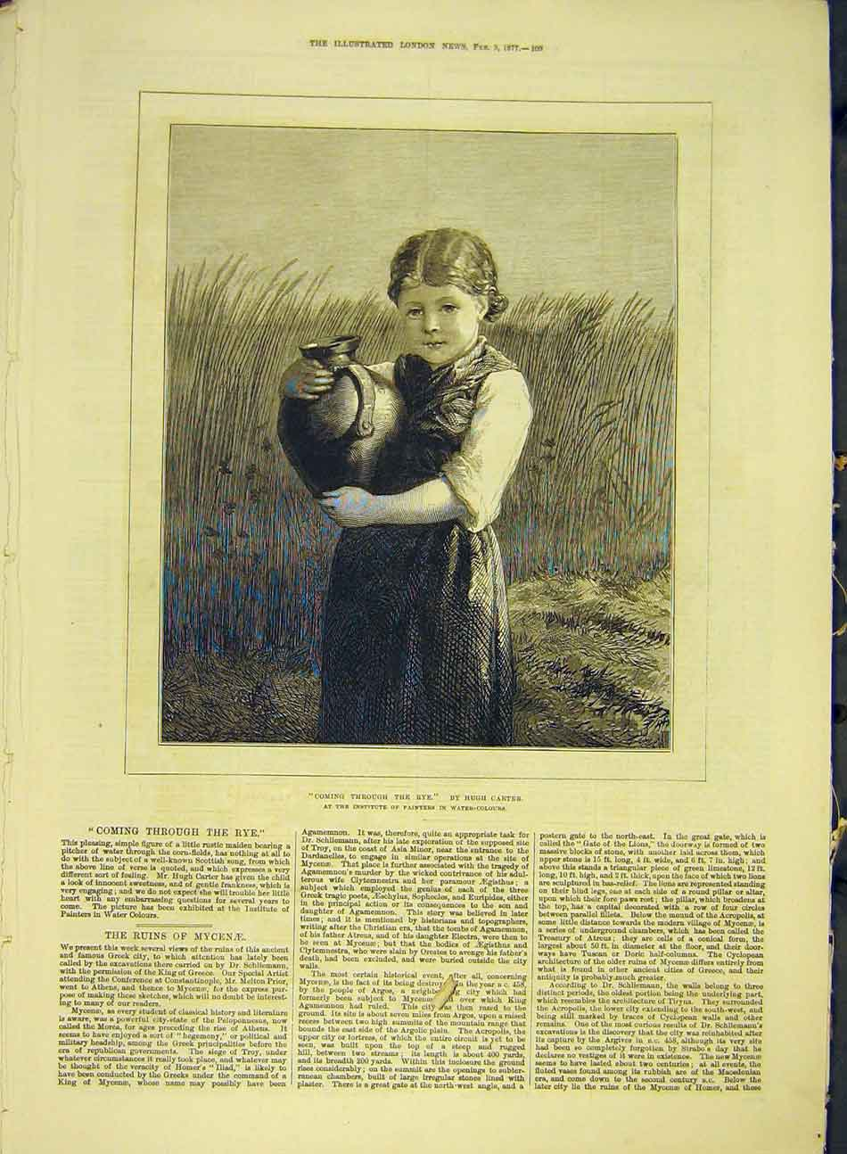 Print 1877 Carter Fine Art Coming-Through-The-Rye Girl 707991 Old Original