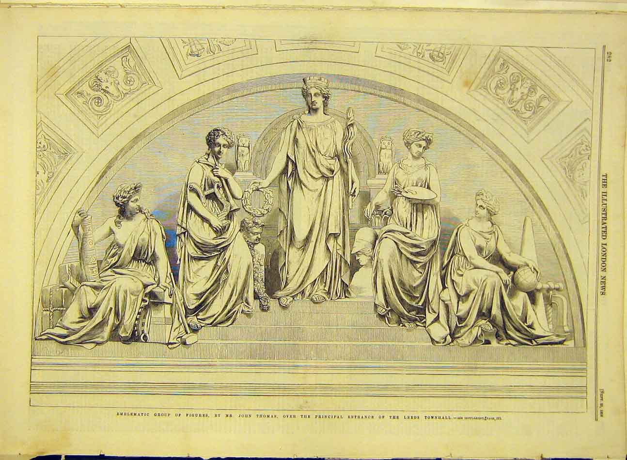 Print 1858 Thomas Leeds Townhall Entrance Figures 777991 Old Original
