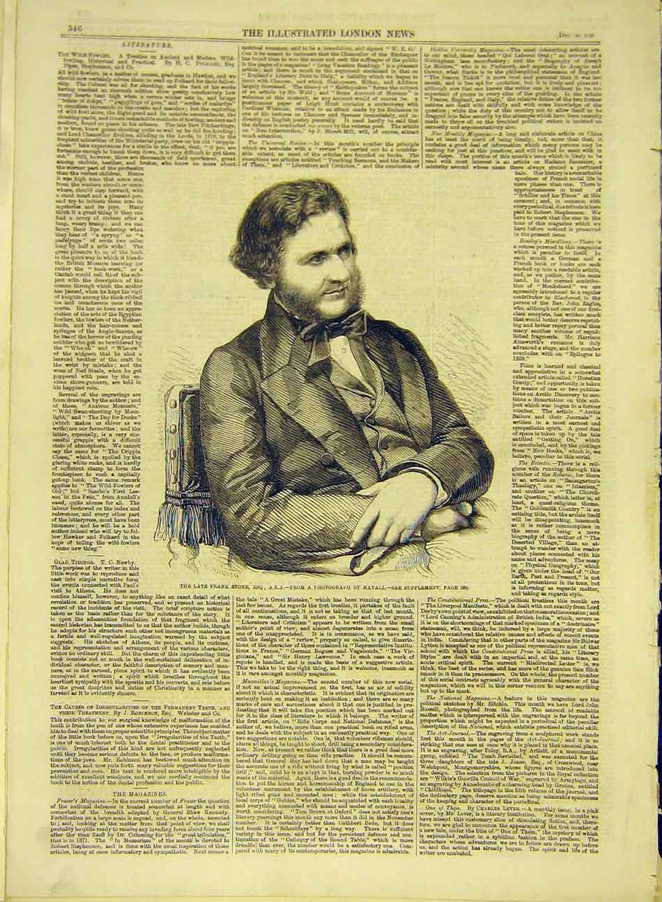 Print 1859 Portrait Frank-Stone Esq 787991 Old Original