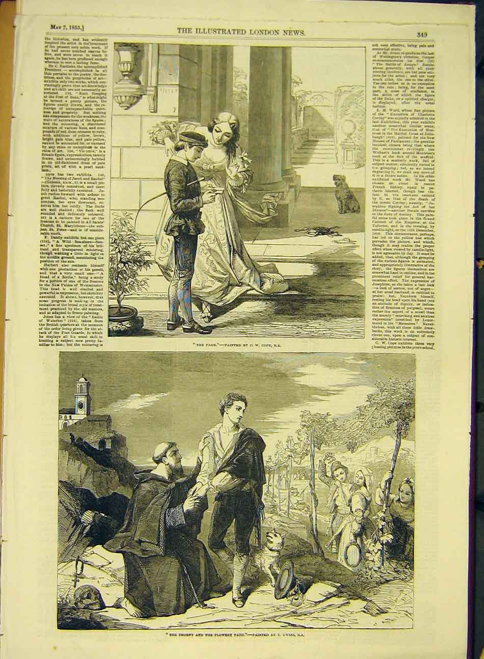 Print 1853 Fine Art Cope The-Page Uwins Thorny Flowery 947991 Old Original