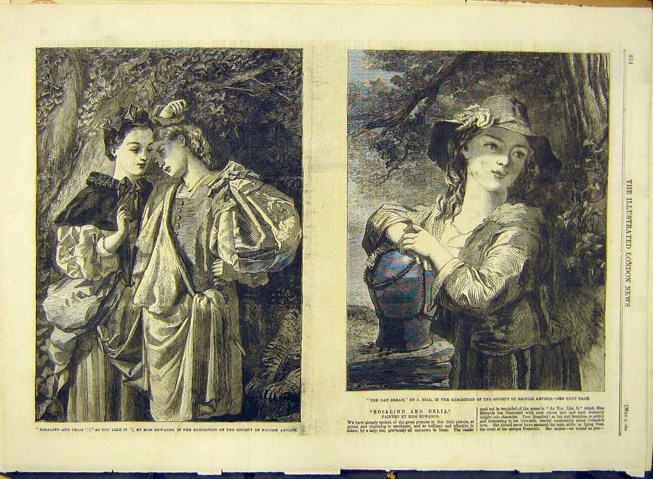 Print 1862 Art Edwards Rosalind Celia Hill Day-Dream 997991 Old Original