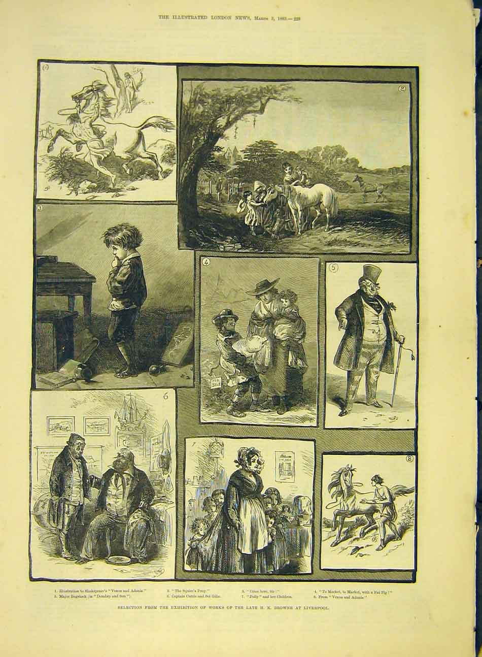 Print 1883 Browne Liverpool Fine-Art Exhibition 017991 Old Original