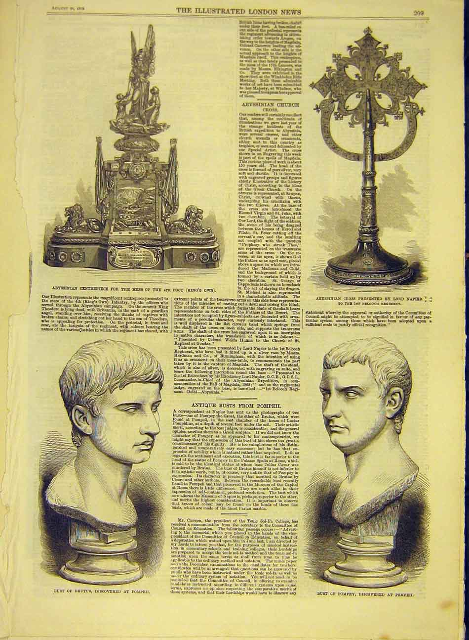 Print 1869 Bust Pompey Brutus Abyssinian Cross Centrepiece 087991 Old Original