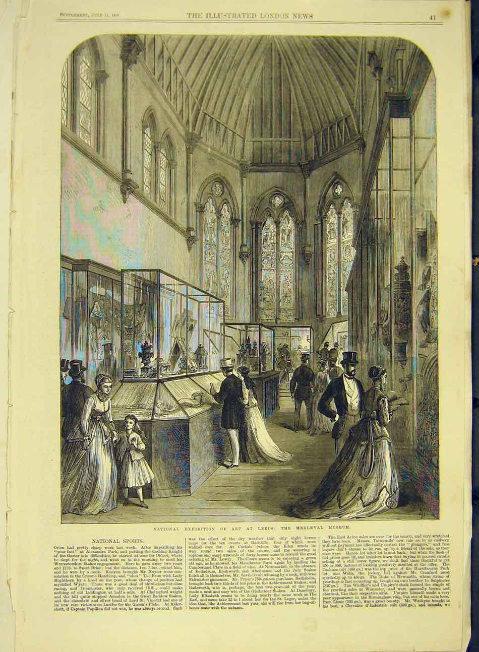 Print 1868 National Art Exhibition Leeds Mediaeval Museum 167991 Old Original