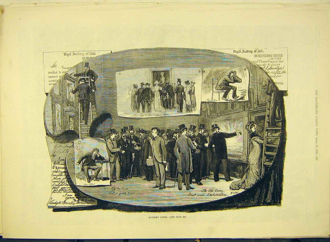 Print 1881 Royal Academy Notes Fine-Art Painting Artists 187991 Old Original