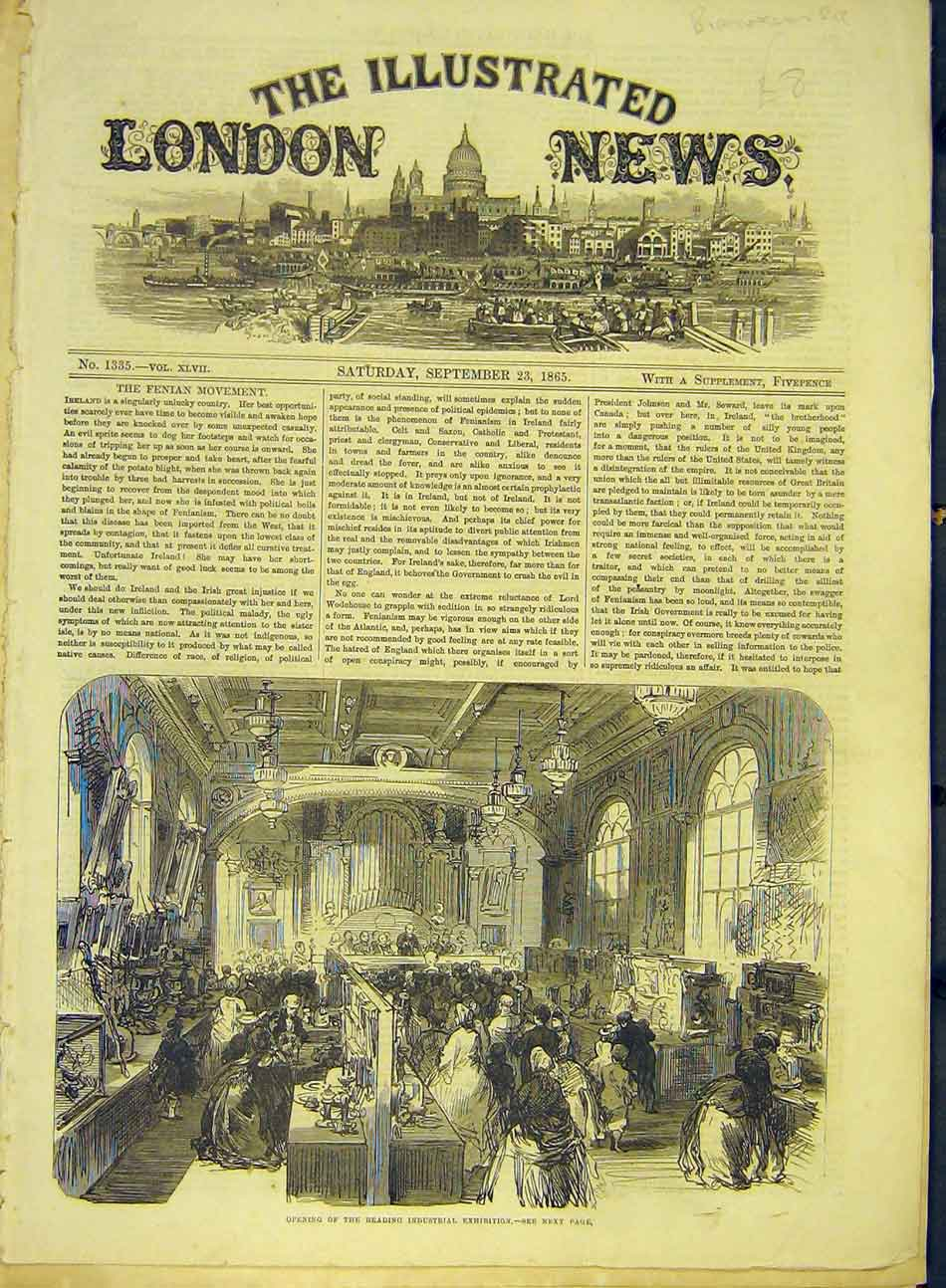 Print 1865 Reading Industrial Exhibition Opening 217991 Old Original
