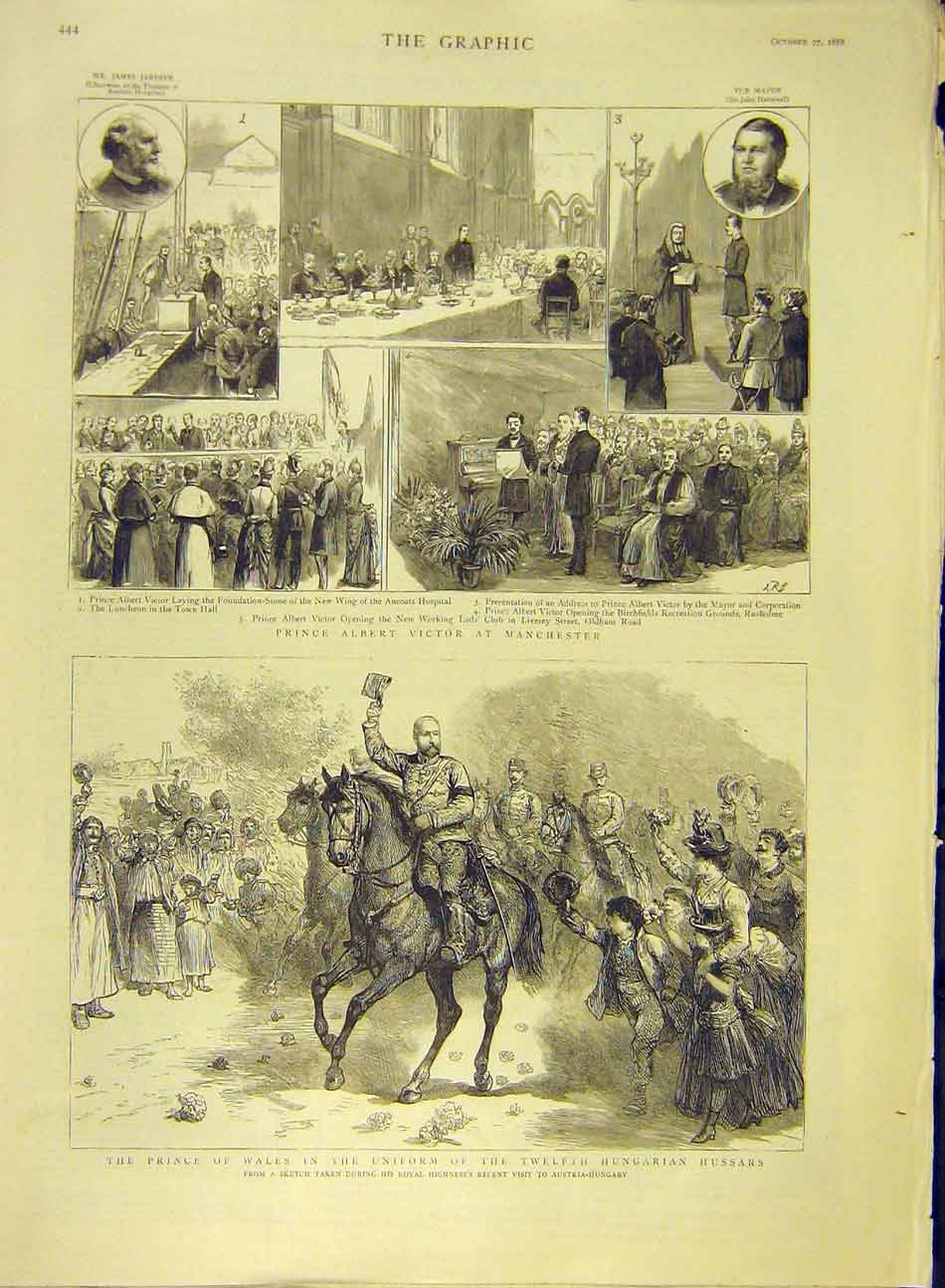 Print 1888 Prince Victor Manchester Wales Hungarian Hussars 347991 Old Original