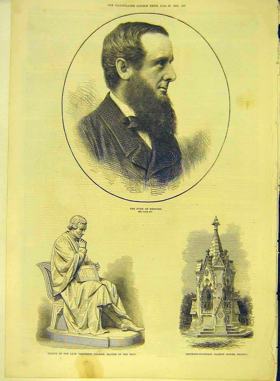 Print 1872 Duke Bedford Statue Graham Fountain Clifton Downs 357991 Old Original