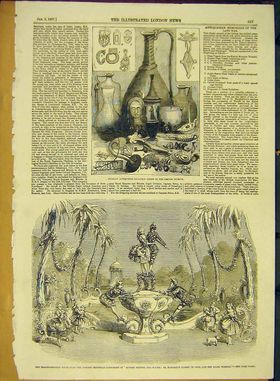 Print 1857 Crimean Antiquities Adelphi Christmas Pantomime 427991 Old Original