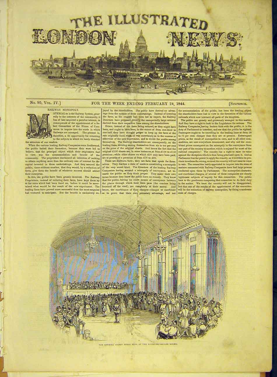 Print 1844 Gothic Fancy Dress Ball Hanover-Square Rooms 457991 Old Original