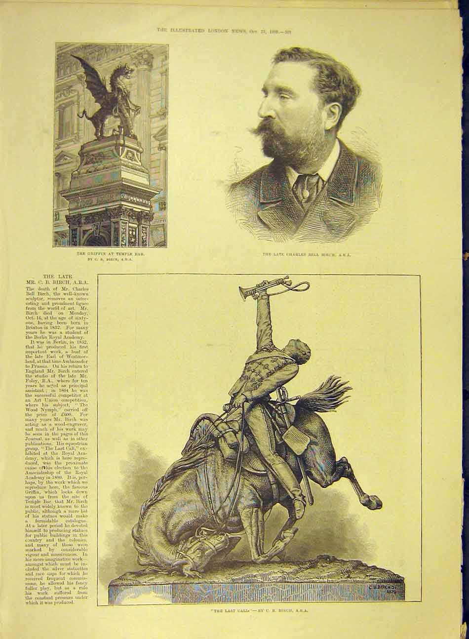 Print 1893 Portrait Birch Griffin Temple-Bar Statue Last-Call 517991 Old Original