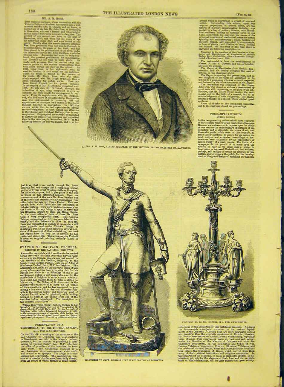 Print 1859 Portrait Ross Engineer Statue Pechell Bazley 587991 Old Original
