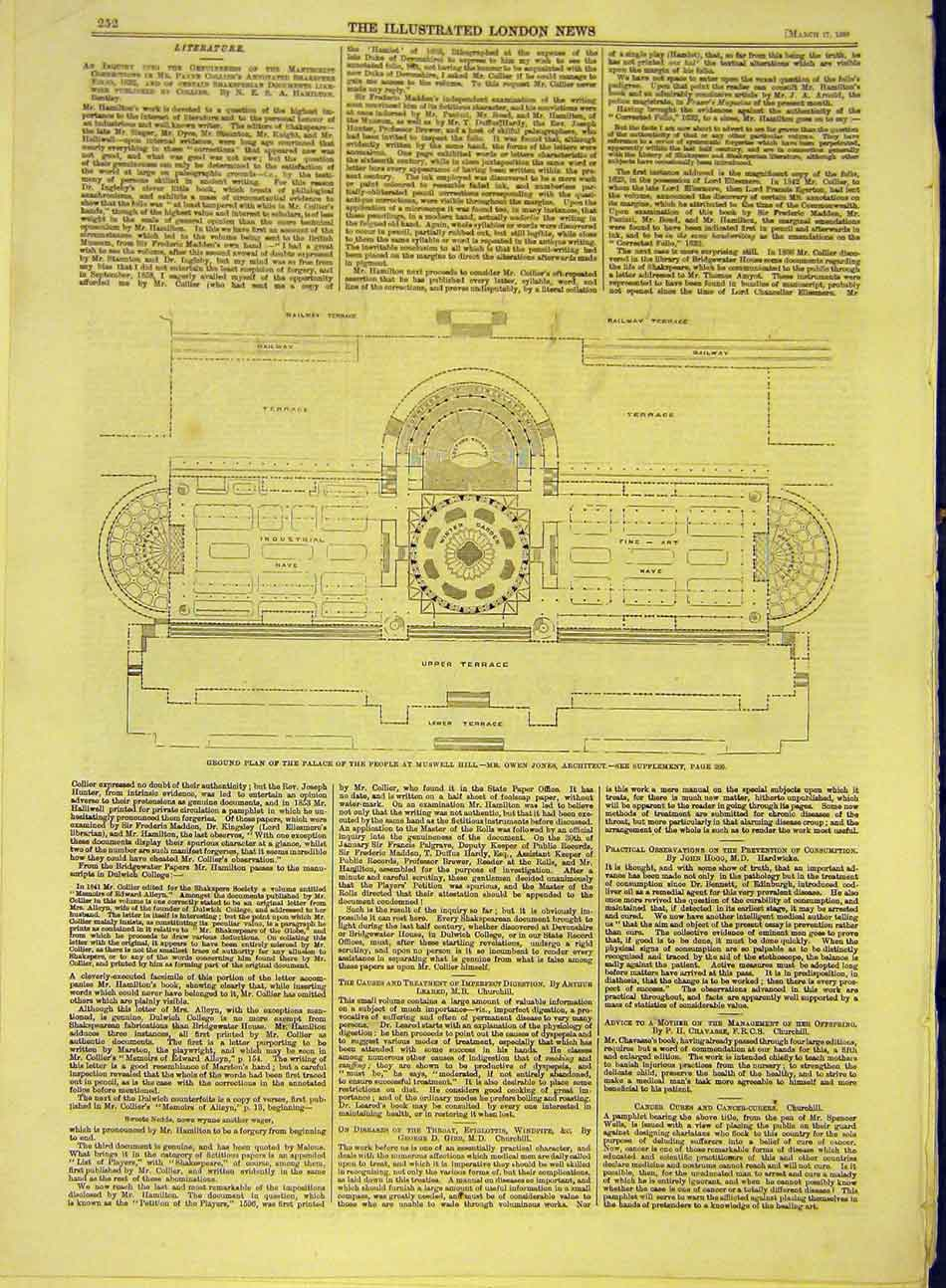 Print 1860 Plan Palace People Muswell Hill Jones Architect 607991 Old Original