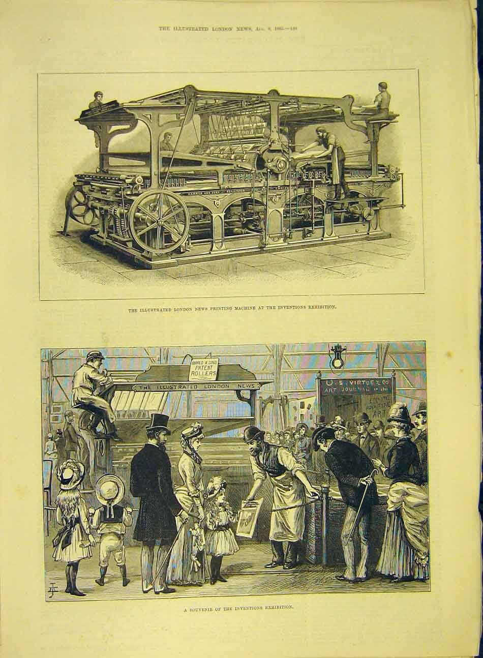 Print 1885 London News Ing Machine Invention Souvenir 617991 Old Original