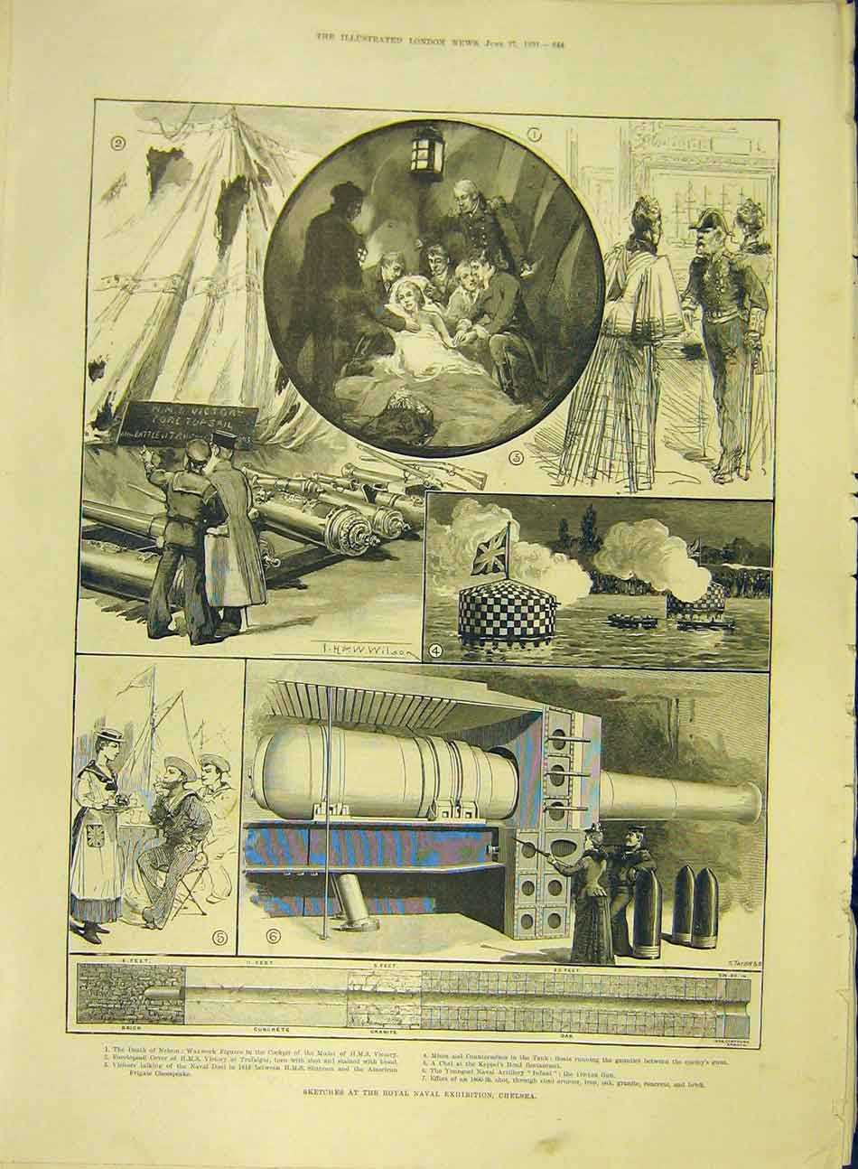 Print 1891 Sketches Naval Exhibition Chelsea Waxwork Hms 627991 Old Original