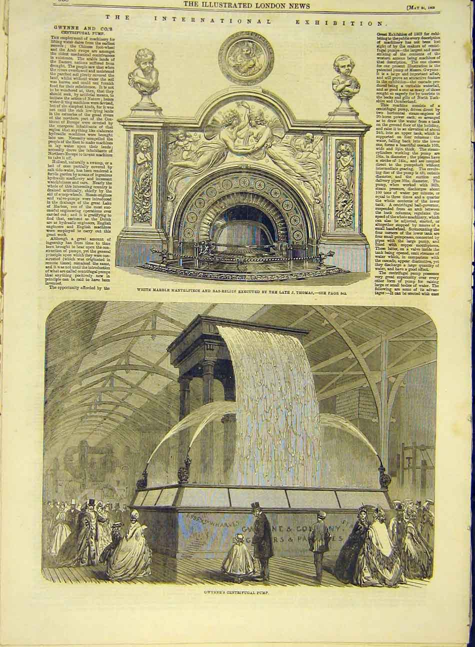 Print 1862 Marble Mantlepiece Thomas Gwynne Pump Centrifugal 707991 Old Original