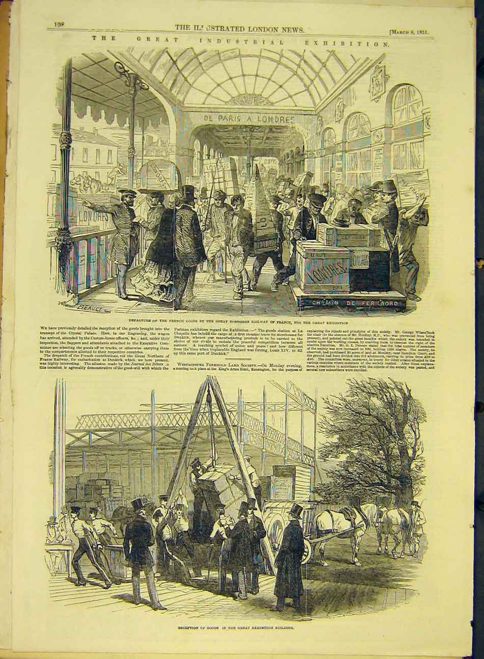 Print 1851 Industrial Exhibition French Railway Goods France 767991 Old Original