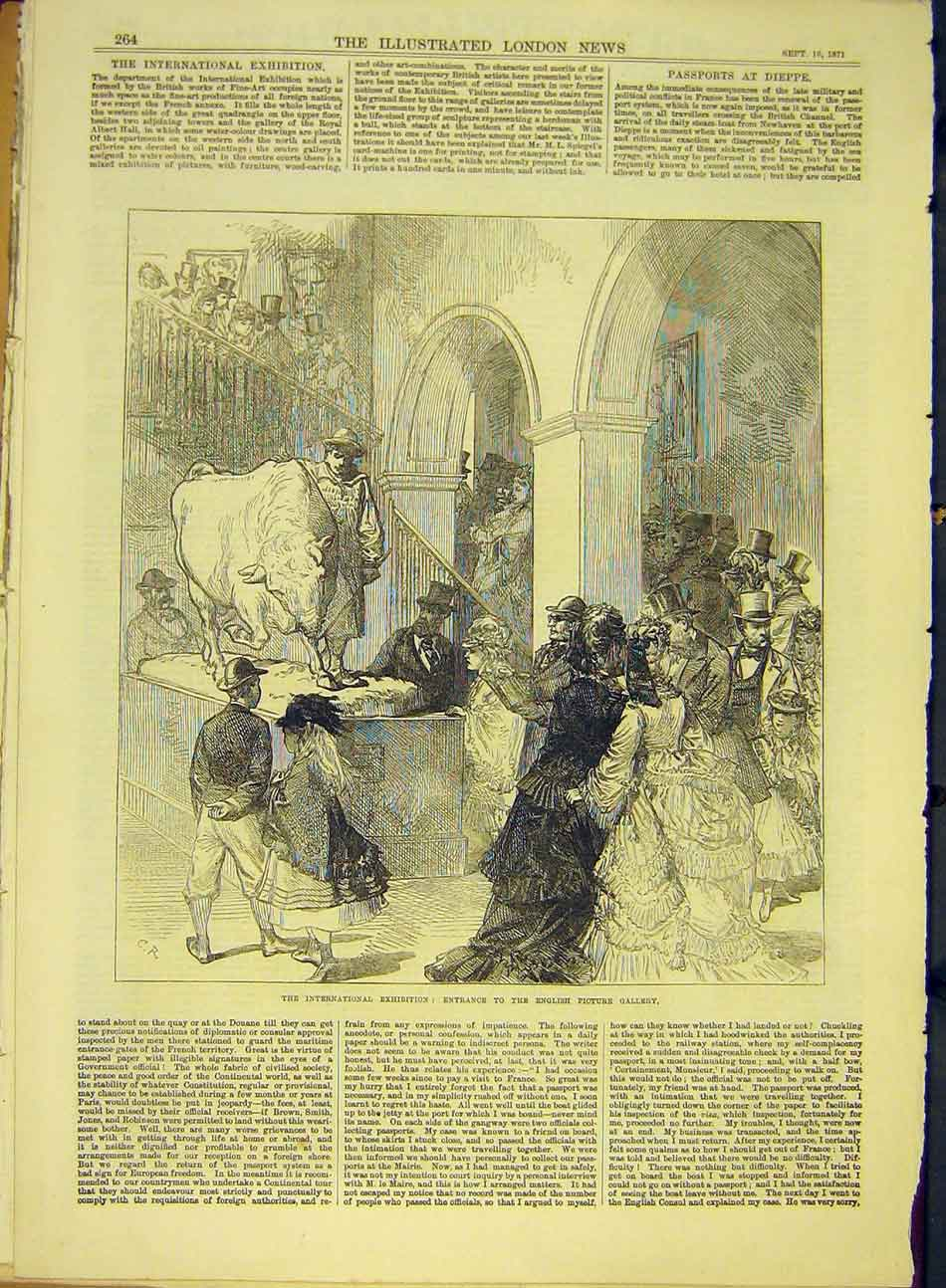 Print 1871 English Picture Gallery Exhibition Entrance 787991 Old Original