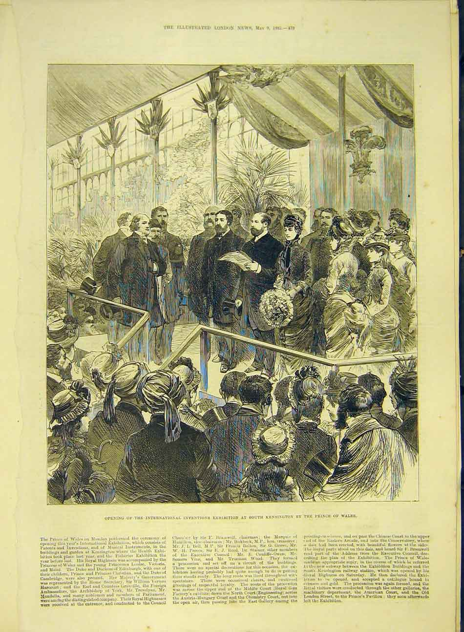 Print 1885 Inventions Exhibition Kensington Prince Wales 857991 Old Original