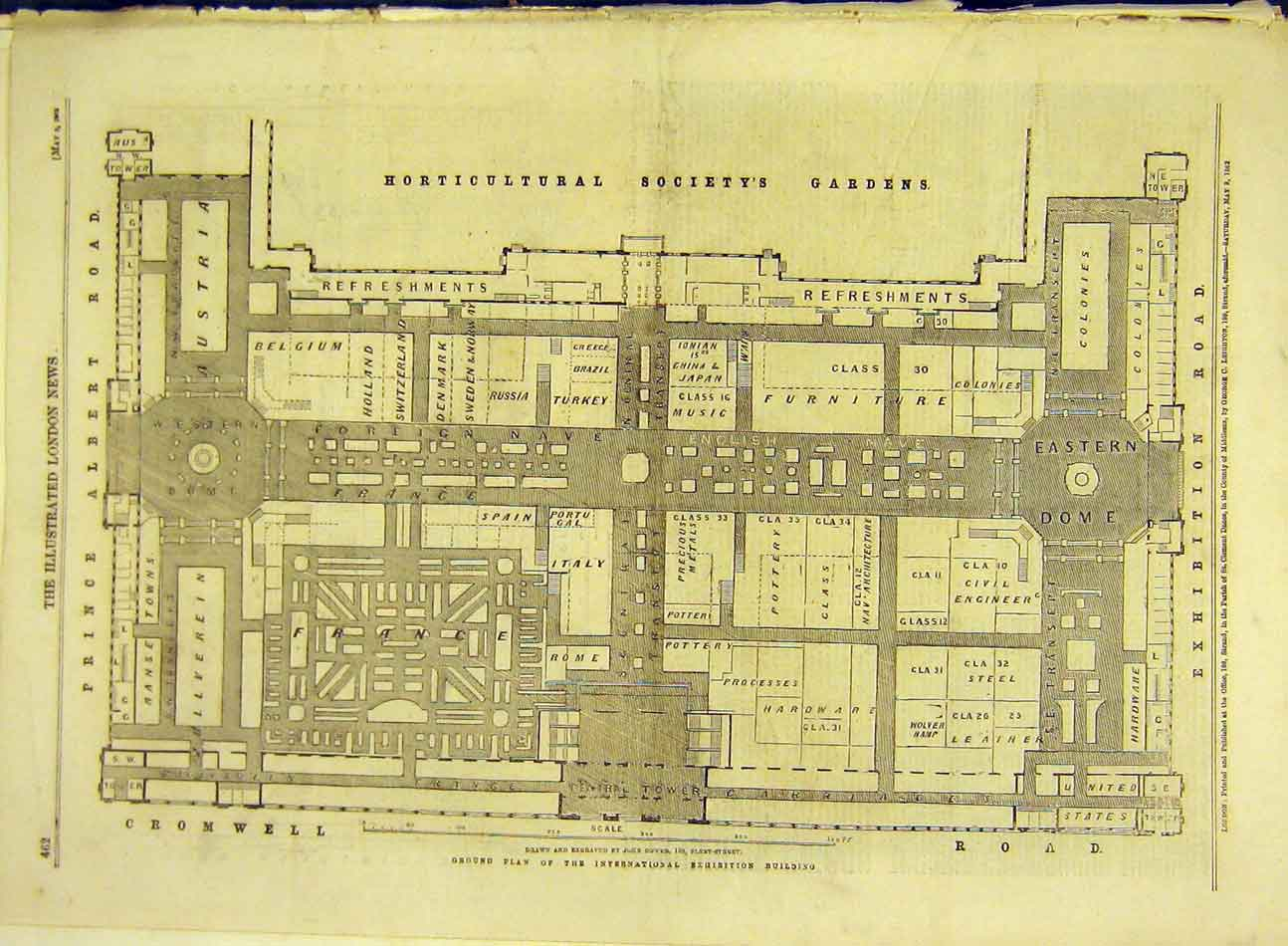 Print 1862 London Road-Plan Exhibition Horticultural Society 877991 Old Original