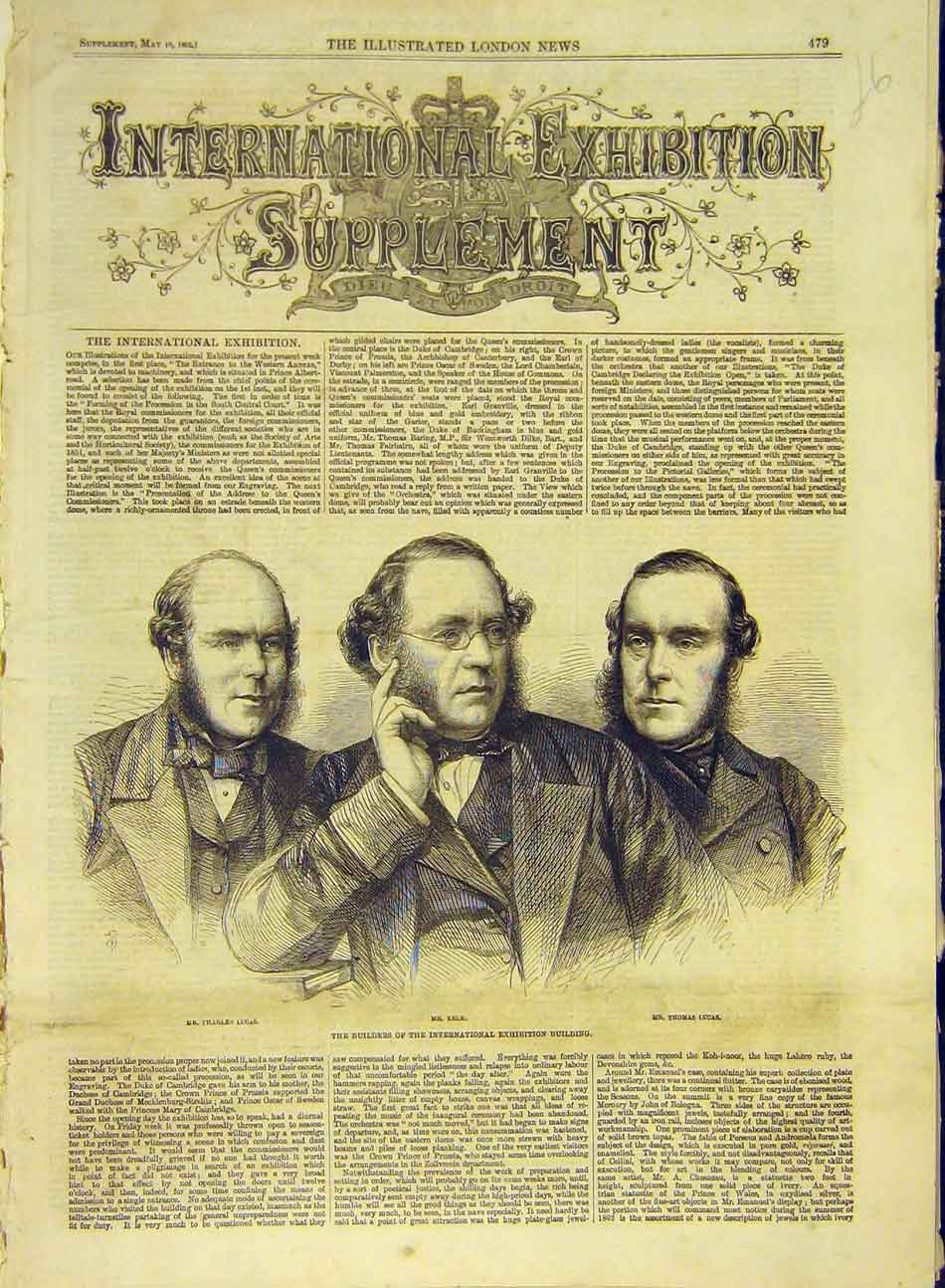 Print 1862 Portrait Builders Lucas Kelk Exhibition Building 897991 Old Original