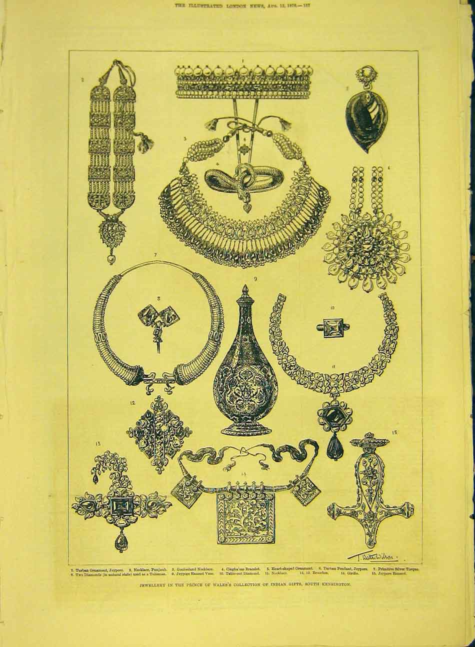 Print 1876 Jewellery Prince Wales Indian Gifts Kensington 937991 Old Original