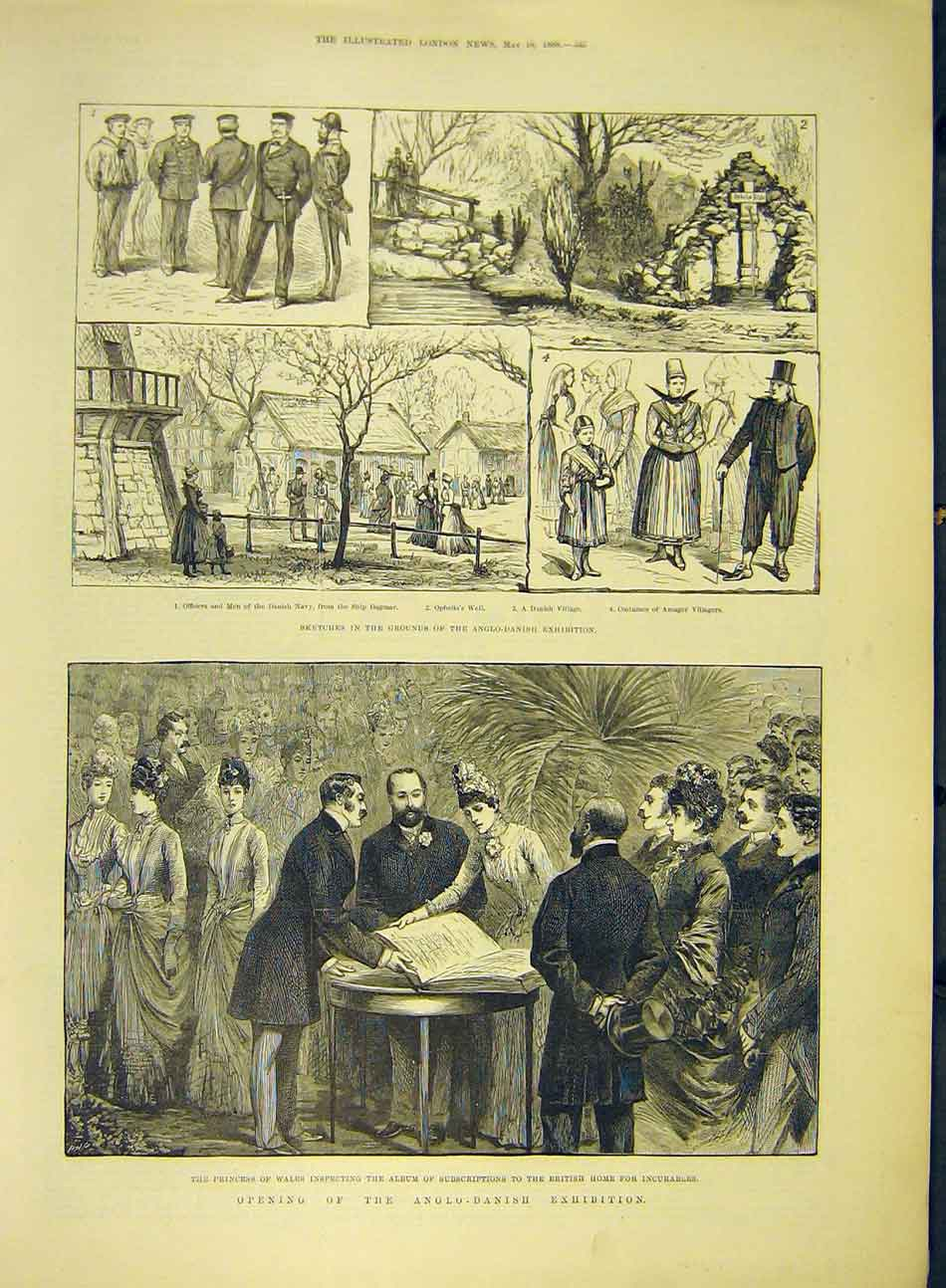 Print 1888 Sketches Anglo-Danish Exhibition Princess Wales 047991 Old Original