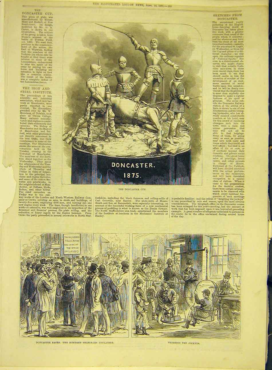 Print 1875 Doncaster Cup Races Telegrams Jockeys 177991 Old Original