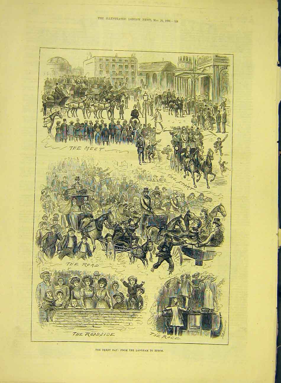Print 1883 Derby-Day Langham Epsom Crowds Horse-Races 197991 Old Original