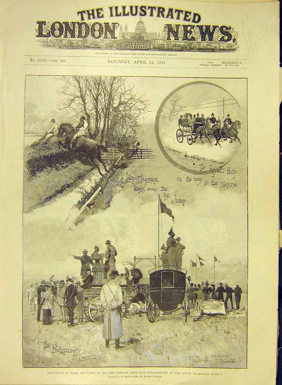 Print 1894 Norfolk Hunt Club Steeplechase Winch Prince Wales 217991 Old Original