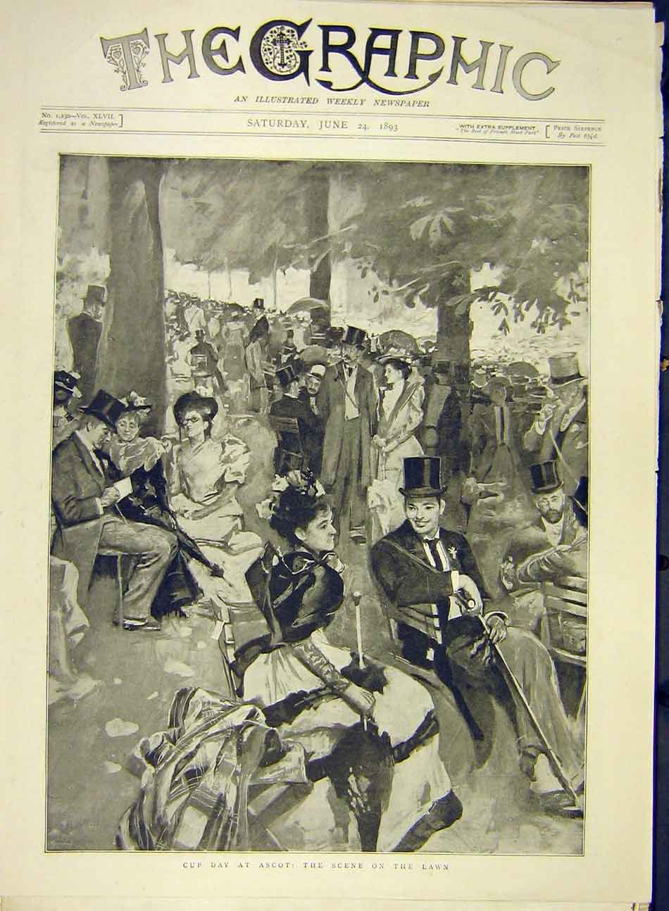 Print 1893 Ascot Cup-Day Lawn Sketch Visitors Races 277991 Old Original