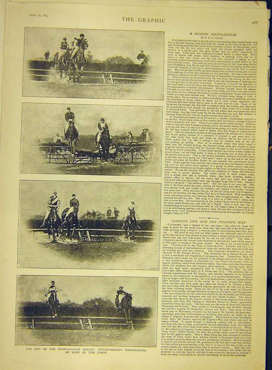 Print 1893 Steeplechase Photographs Jumps Horses 297991 Old Original