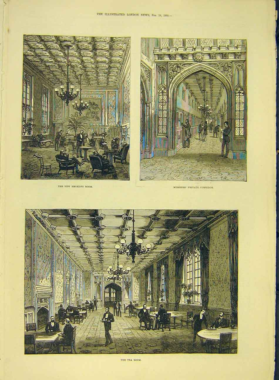 Print 1882 Smoking-Room Members Corridor Tea-Room 347991 Old Original