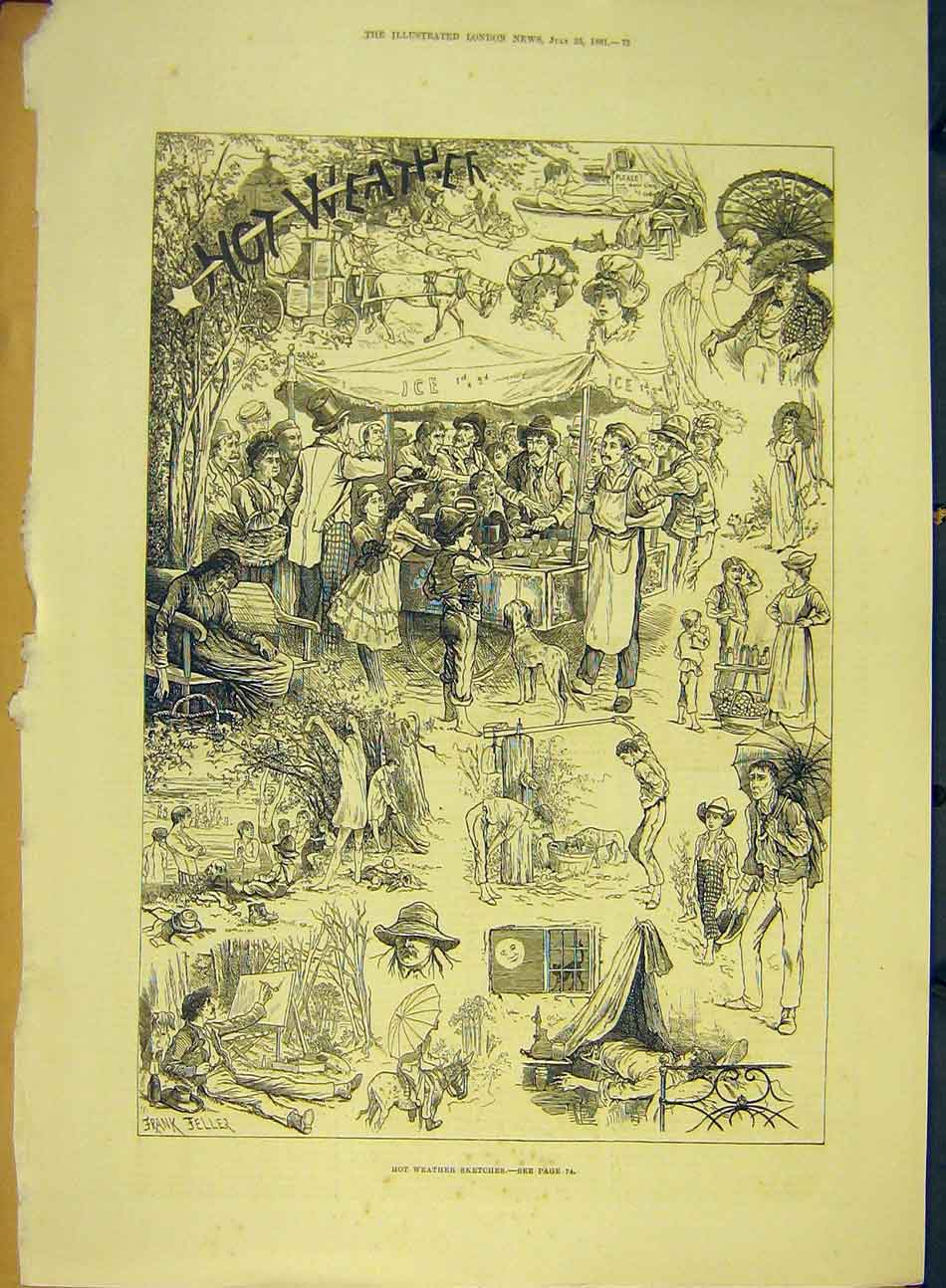 Print 1881 Hot-Weather Sketches Jeller Summer 367991 Old Original
