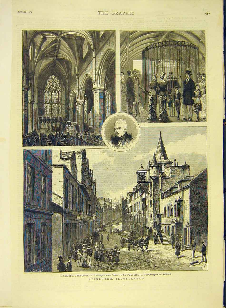 Print 1879 Edinburgh Sketches Castle Church Scott Canongate 427991 Old Original