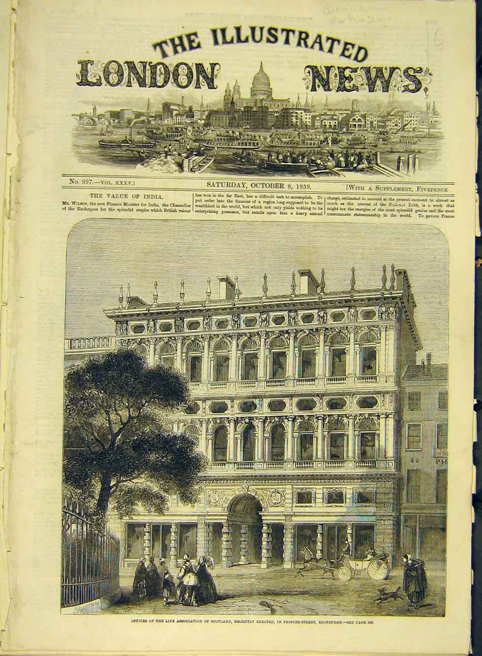 Print 1859 Office Building Life-Association Scotland Edinburg 477991 Old Original