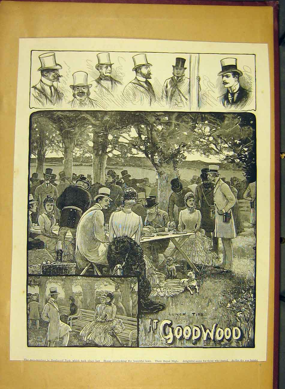 Print 1884 Goodwood Races Lunch-Time Picnic 617991 Old Original