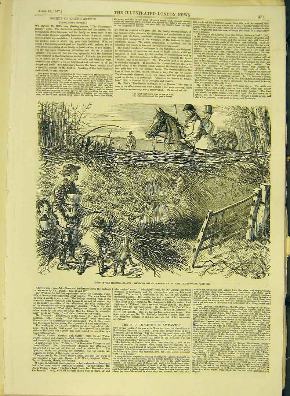 Print 1857 Hunting Hunt Fences Leech Sketch 677991 Old Original