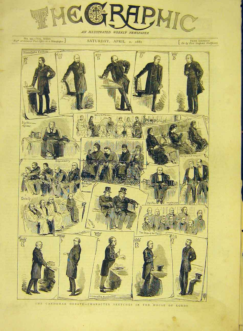 Print 1881 Candahar Debate Character Sketches House Lords 827991 Old Original
