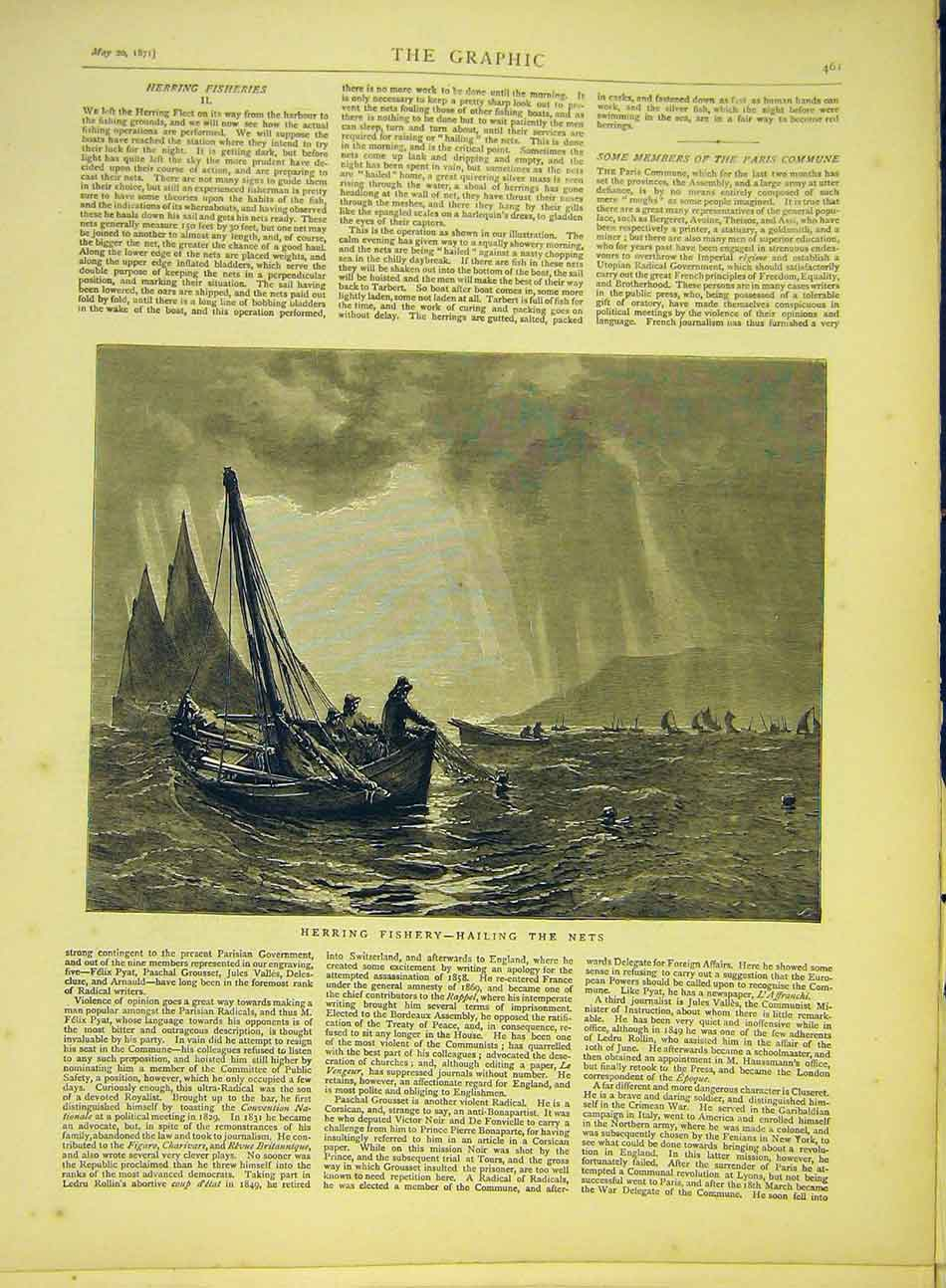 Print 1871 Herring Fishery Hailing Nets Fishing Boats Fish 847991 Old Original