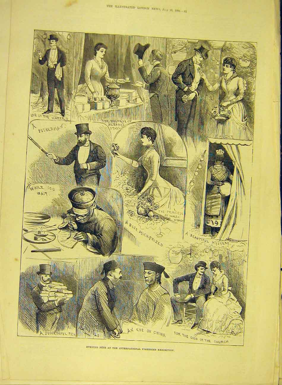 Print 1883 Fete International Fisheries Exhibition Fishermen 867991 Old Original