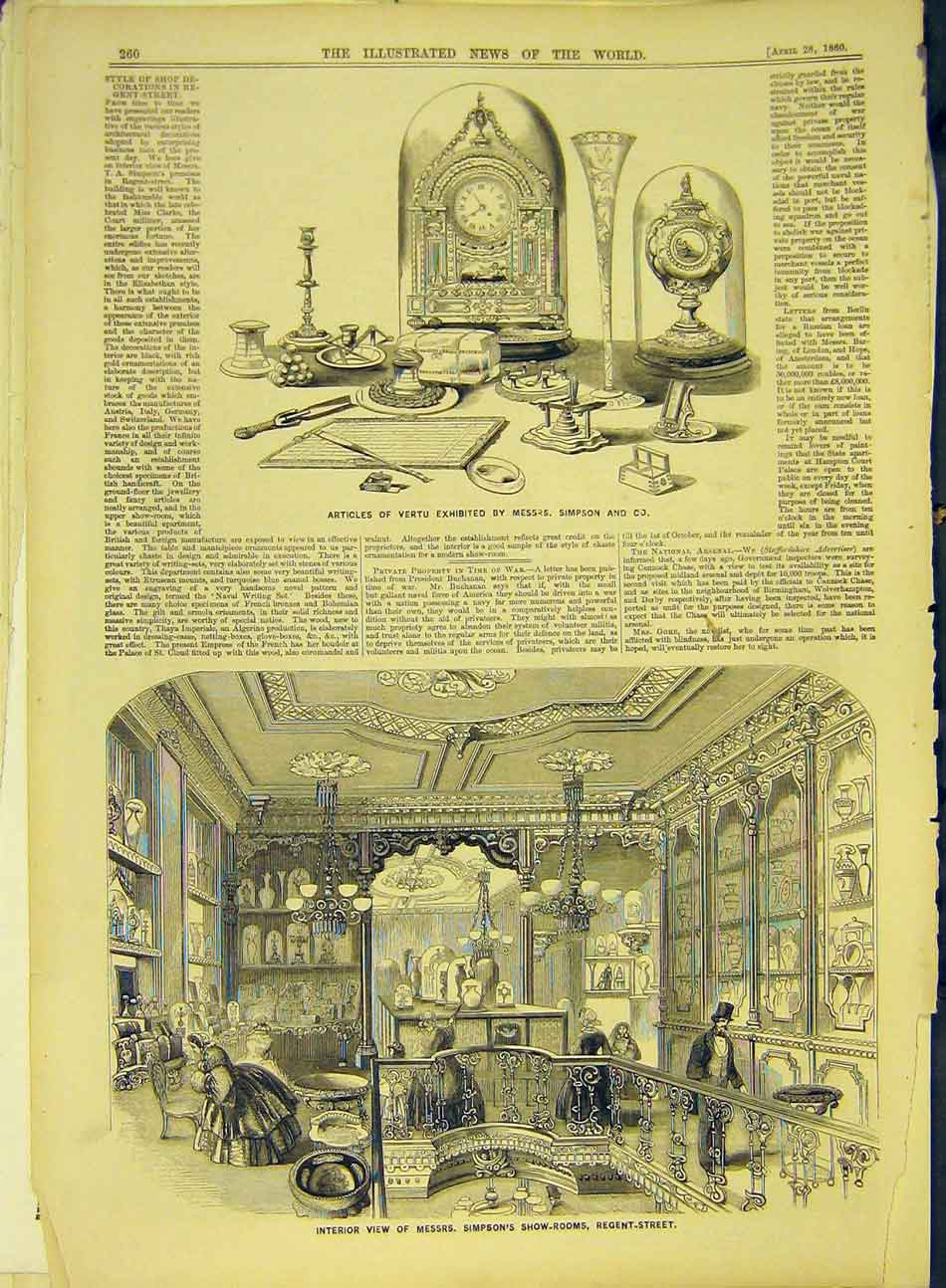 Print 1860 Vertu Articles Simpson Show-Rooms London S 937991 Old Original