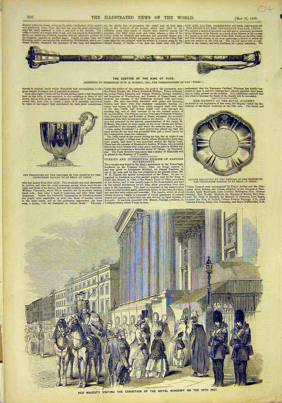 Print 1859 Sceptre King Oude Cup Salver French Empress Royal 048011 Old Original