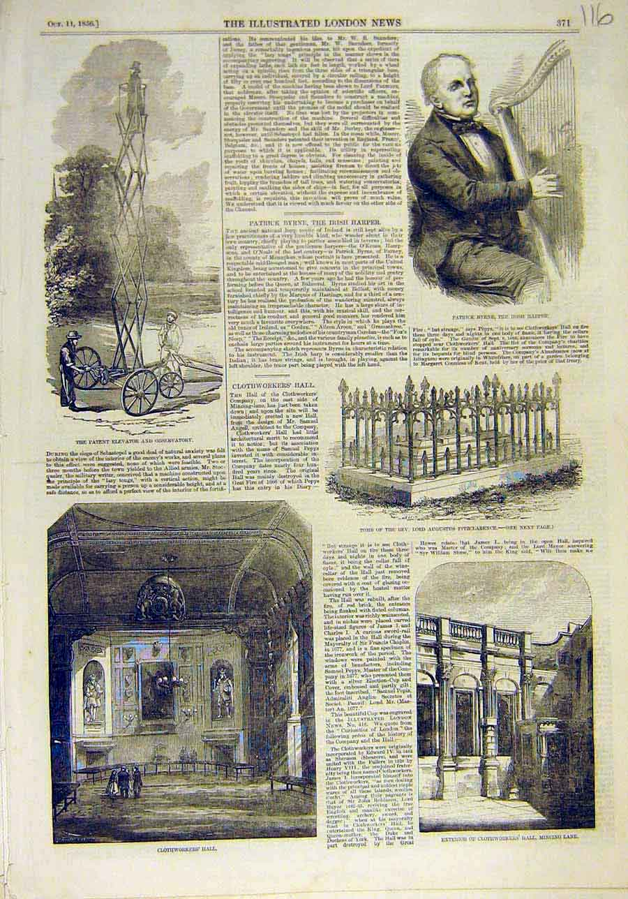 Print 1856 Patent Elevator Byrne Harp Tomb Clothworkers Hall 168011 Old Original
