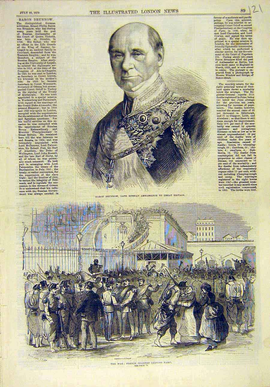 Print 1870 Brunnow Russian Ambassador War French Soldiers 218011 Old Original