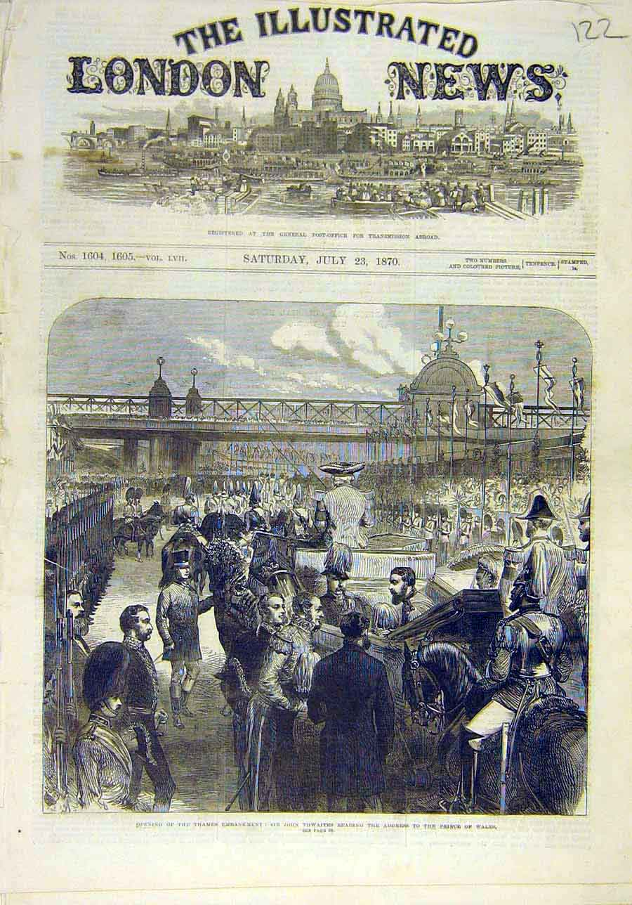 Print 1870 Thames Embankment London Thwaites Prince Wales 228011 Old Original