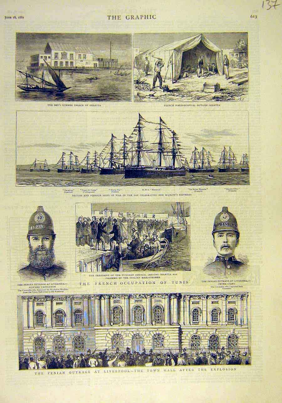 Print 1881 Fenian Outrage Liverpool French Occupation Tunis 378011 Old Original
